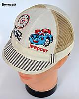 Летняя шапка Кепка полоска. Хлопок+сетка. р. 46-48 (1-2 года) бежевый