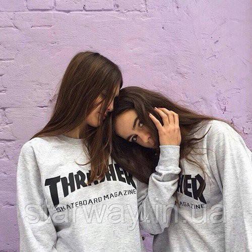 Свитшот серый | с принтом Thrasher Skateboard Magazine | Женский
