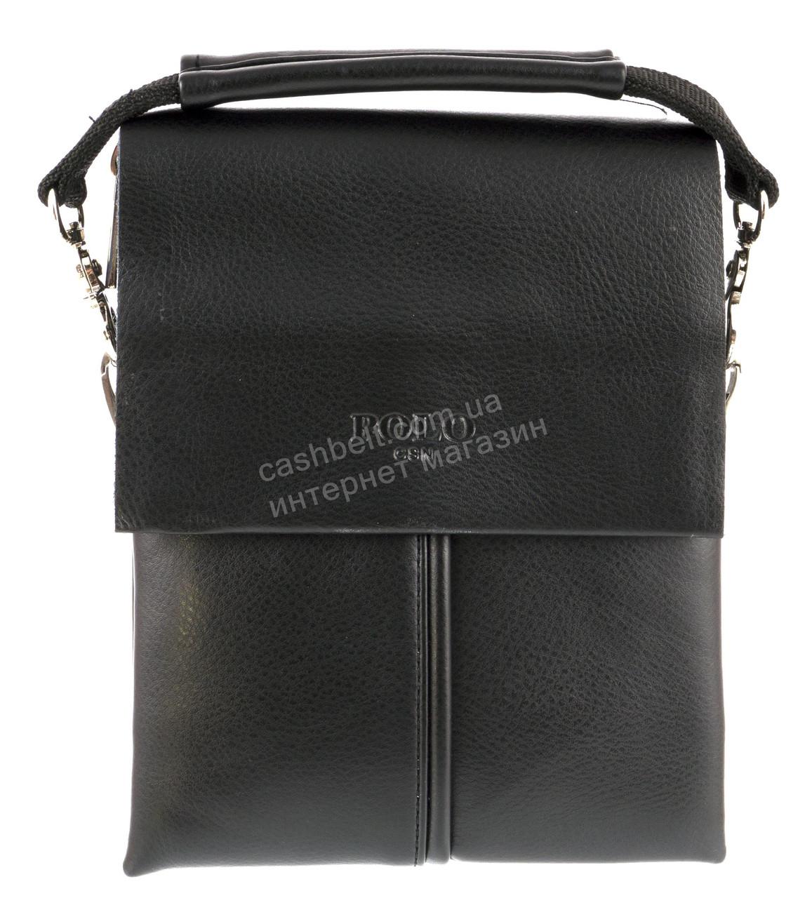 Удобная маленькая черная прочная мужская сумка с качественной PU кожи POLO art. TP6771-1 черная
