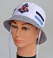 Летняя шапка Якорь панама 9 мес-3 лет. р48 (на ОГ 45-47см) и р50 (ОГ 48-50) т.синий, ярко-син, полоска, клетка