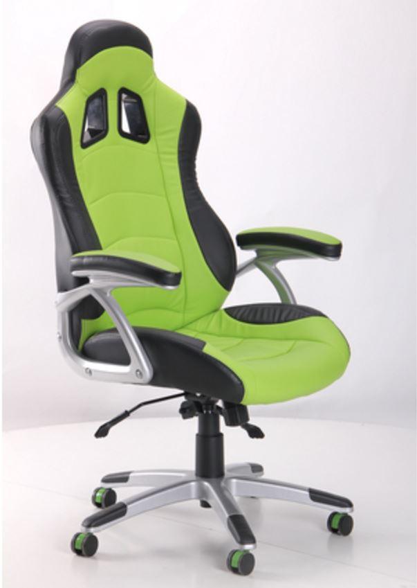 Кресло Форсаж №3 (1709) к/з PU черный/зеленые вставки