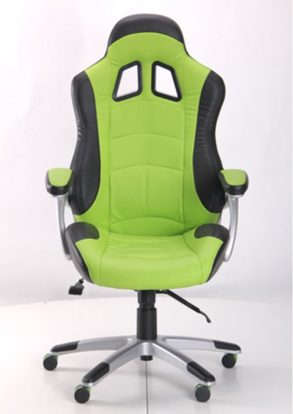 Кресло Форсаж №3 (1709) к/з PU черный/зеленые вставки (фото 2)