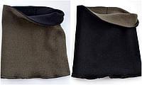 Детский и взрослый Шарф-хомут без вышивки. Красн, черный с 2 сторон, джинс, св.сер, т.серый, лён (беж), хаки с 2 сторон