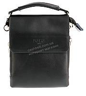 Удобная маленькая черная прочная мужская сумка с качественной PU кожи POLO art. TP8868-0 черная, фото 1