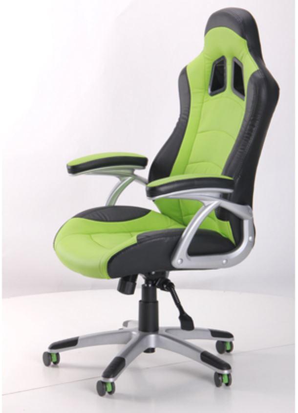 Кресло Форсаж №3 (1709) к/з PU черный/зеленые вставки (фото 7)