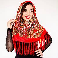 Красный платок для девушек с цветами (120х120см, красный, 80%-шерсть)