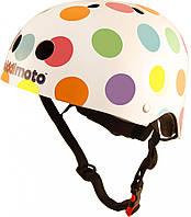 Шлем детский Kiddimoto белый в цветной горошек, размер S 48-53см