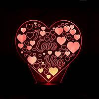 """3D Лампа """"Сердце с """"I LOVE YOU"""""""
