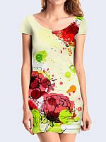 Платье Маки красками
