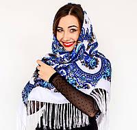 Красивый белый платок для девушек с цветами (120х120см, белый, 80%-шерсть)