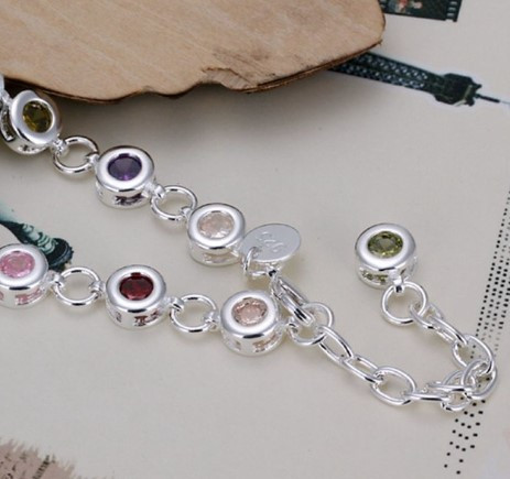 Браслет женский из стерлингового серебра с камнями Multicolor 2