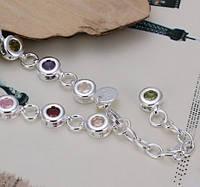 Браслет женский из стерлингового серебра с камнями Multicolor 2, фото 1