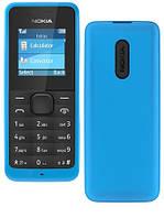 Мобильный телефон Nokia 105 Cyan DUOS, 2 MicroSim, 1.4' (128х128) TFT, no Cam, no GPS, no Wi-Fi, no BT, FM, no MP3, Li-Ion 800mAh