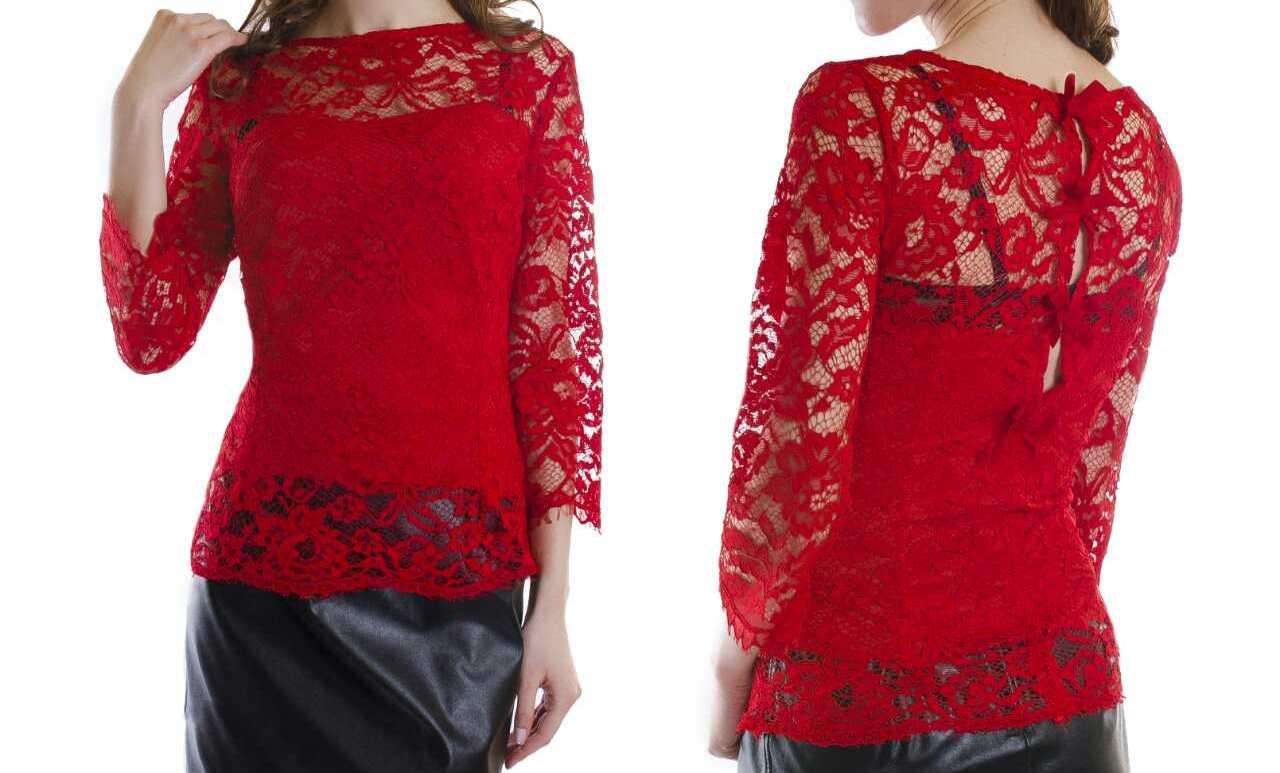 Блуза ажурная с бантиками на спине женская (гипюр)