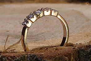 Женское золотое кольцо с  пятью бриллиантовыми вставками, фото 2