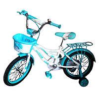 Детский велосипед Azimut Kiddy 16 д для девочки от 4-7 лет голубой