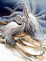 Схема для вышивки бисером Белоснежные цапли