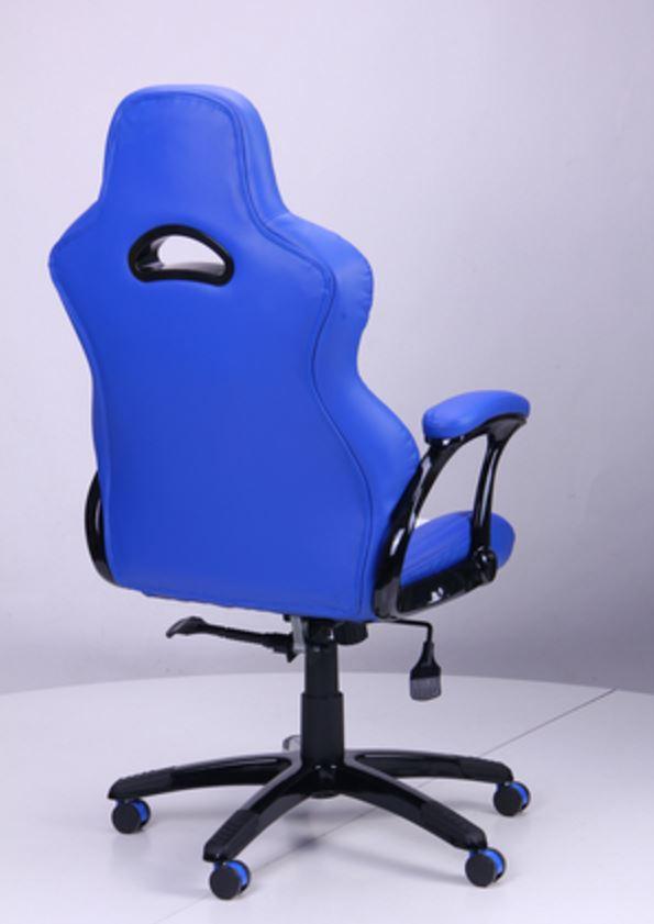 Кресло Форсаж №5 (1675) к/з PU синий/белые вставки (фото 4)