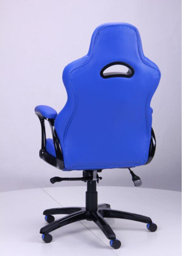 Кресло Форсаж №5 (1675) к/з PU синий/белые вставки (фото 5)