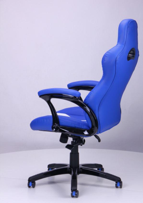 Кресло Форсаж №5 (1675) к/з PU синий/белые вставки (фото 6)