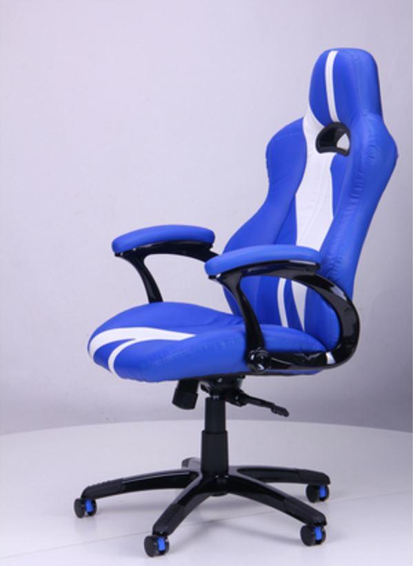 Кресло Форсаж №5 (1675) к/з PU синий/белые вставки (фото 7)
