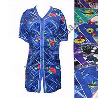 Женский велюровый халат ПОЛУБАТАЛ на пуговицах 25-1 оптом со склада на 7км