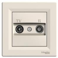 fd6253d8122f Schneider Electric Asfora Розетка TV R проходная (4дБ) кремовая