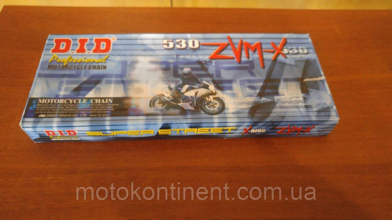 Мото ланцюг 530 DID 530ZVM-X 112 Сталева для мотоцикла ( в к-ті замок ZJ) сальник X 2 -Ring