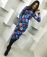Модное синее женское платье с цветочным принтом . Арт-2008/82
