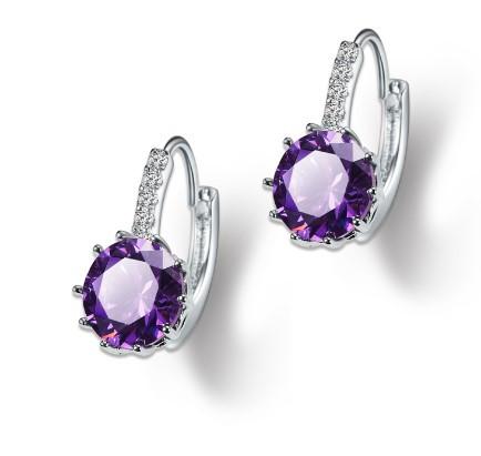 Серьги посеребренные с кубиком циркония Ocean Purple