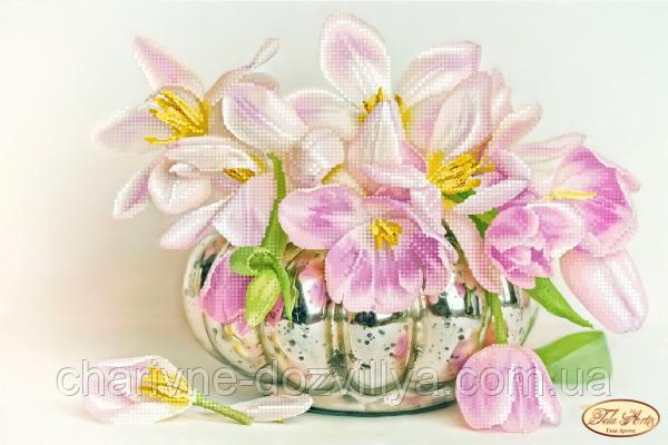 Схема для вишивки бісером Бокэ. Перлинні тюльпани