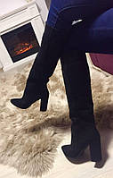 Женские демисезонные сапоги натуральная замша, каблук 10 см. Черный цвет