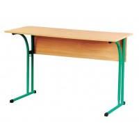 Двухместный стол для учеников с полкой,  закругленными углами и регулировкой по высоте