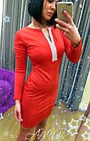 Красивое красное  короткое платье, декорировано камнями . Арт-2009/82
