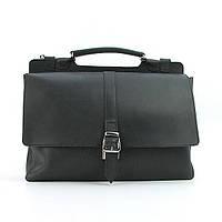 Черная кожаная сумка женская прямоугольная А4