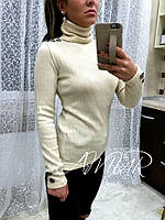 Женский  бежевый  ангоровый свитер, декор-пуговки. Арт-2010/82