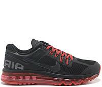 """Кроссовки """"Nike Air Max 2013 Sport Black-Red"""" Мужские Черные Красные Спортивные Беговые Найк Летние Спорт Зал"""