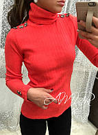 Женский  красный   ангоровый свитер, декор-пуговки. Арт-2010/82