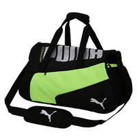 Спортивная сумка Puma черная с салатовой вставкой