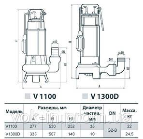 Насос дренажно-фекальный Sprut V 1300D c НОЖОМ, фото 2