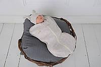 Євро пелюшка кокон на блискавці з шапочкою, Wind, бежевий меланж 0-3 і 3-6 міс., фото 1