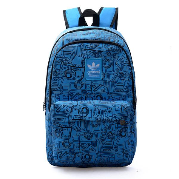 Рюкзак Adidas голубой с изображением черных фотоаппаратов (реплика)