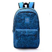 Рюкзак Adidas голубой с изображением черных фотоаппаратов