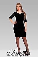 Женское черное платье большого размера  до колена Ненси