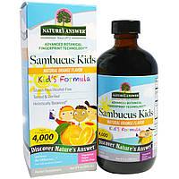 Nature's Answer, Формула с бузиной для детей, натуральный апельсиновый ароматизатор, 4000 мг, 8 жидк. унц. (24
