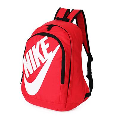 Рюкзак Nike красный с белым логотипом и надписью (реплика)