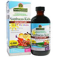 Nature's Answer, Формула с бузиной для детей, натуральный вишневый ароматизатор, 4000 мг, 8 жидк. унц. (240 мл