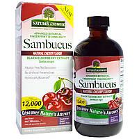 Nature's Answer, Бузина, натуральный вишневый ароматизатор, 12 000 мг, 8 жидк. унц. (240 мл)