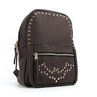 Рюкзак коричневый женский с заклепками