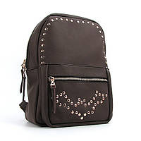 Рюкзак коричневый женский с заклепками, фото 1